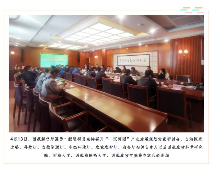 """4月13日,西藏经信厅温勇副巡视员主持召开""""一区两园""""产业发展规划方案研讨会,自治区发改委、科技厅、自然资源厅、生态环境厅、农业农村厅、商务厅相关负责人以及西藏农牧科学研究院、西藏大学、西藏藏医药大学、西藏农牧学院等专家代表参加.png"""
